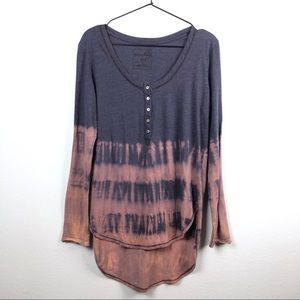 Free People • Tie Dye Henley Long Sleeve Shirt